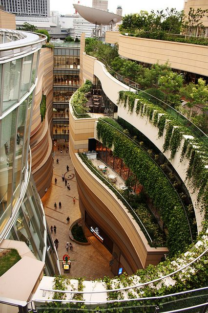 Japan's Namba Parks Has an 8 Level Roof Garden with Waterfalls - looks wonderful