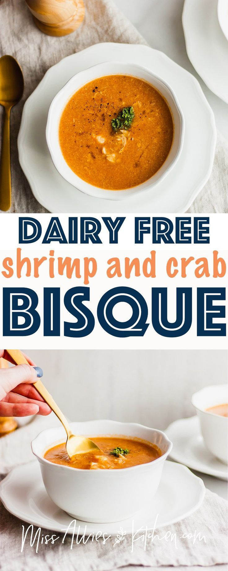 Dairy Free Shrimp and Crab Bisque - one of the most decadent dairy free recipes you can make. This bisque can be a side dish or a meal! We use coconut milk and tomato paste to create a rich color and flavor. This would be the perfect entertaining recipe and makes a great healthy soup option chock full of seafood! #dairyfree #seafood #shrimp #crab #bisque #dairyfreebisque #glutenfree #soup