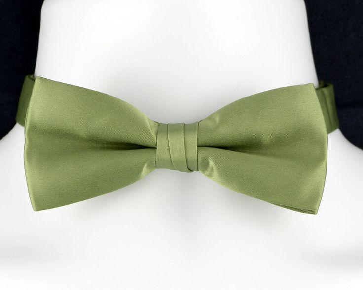 Olive Green Adjustable Wedding Tuxedo Fashion Matte Satin Mens Bow Tie New  #TiesJustForYou #BowTie