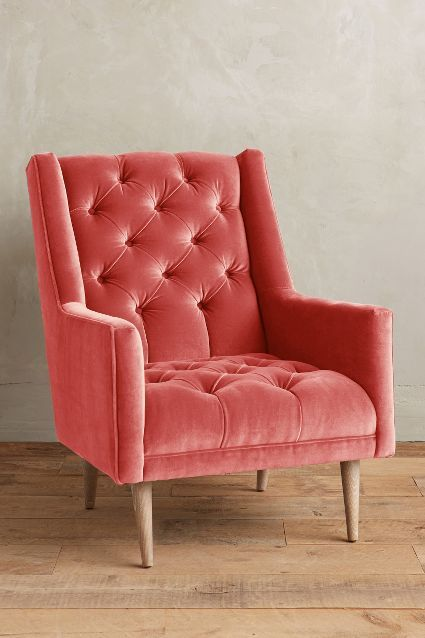 Velvet Booker Armchair, Wilcox - anthropologie.com
