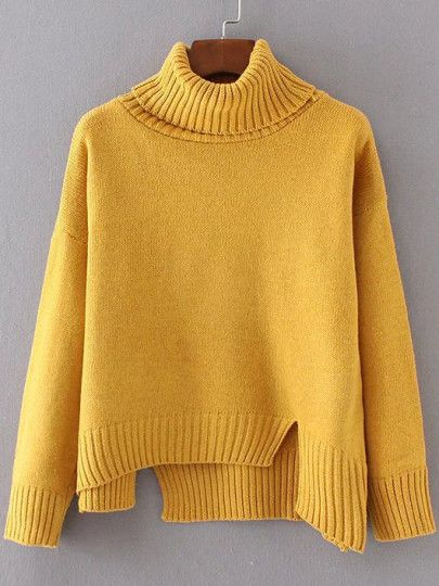 Shop Yellow Ribbed Trim Turtleneck Asymmetrical Sweater online. SheIn offers Yellow Ribbed Trim Turtleneck Asymmetrical Sweater & more to fit your fashionable needs.