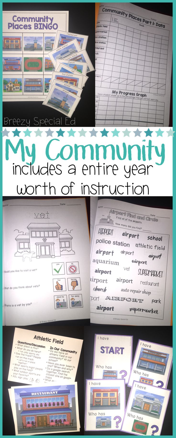 This unit has everything you need to teach community places to your special education or early childhood students!