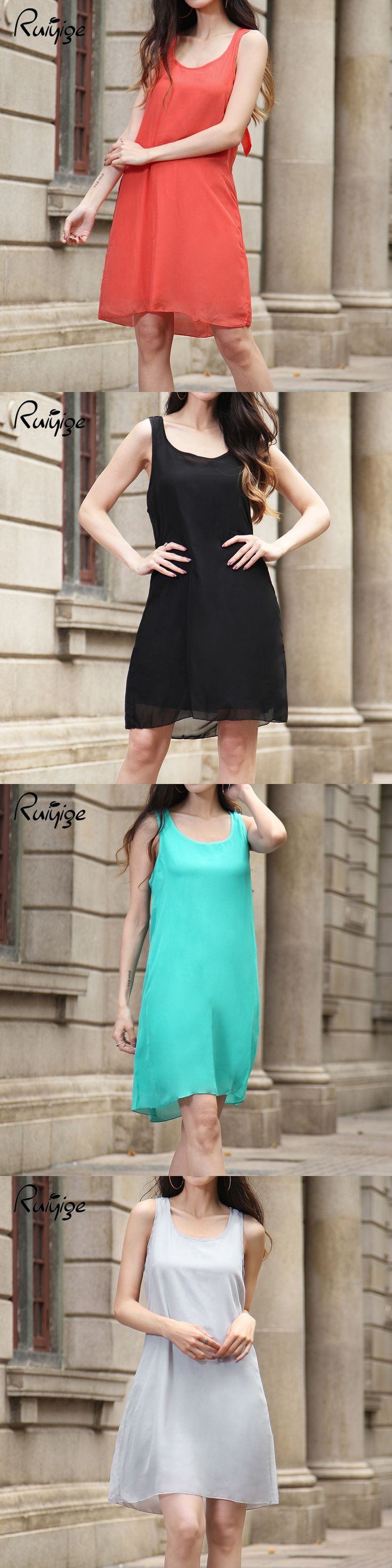 RUIYIGE 2017 Summer Women Casual Bowknot Chiffon Mini Dress Evening Party Club Party O Neck Sleeveless Solid Dresses 4 Colours