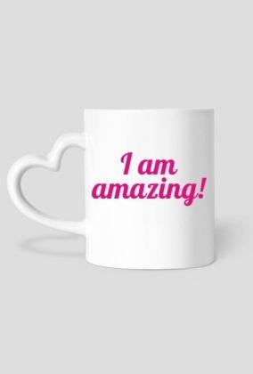 I Am Amazing! - heart-shaped mug #selflove #confidence #mugs Other merchandise with this design: https://blibli.cupsell.com/k/i-am-amazing