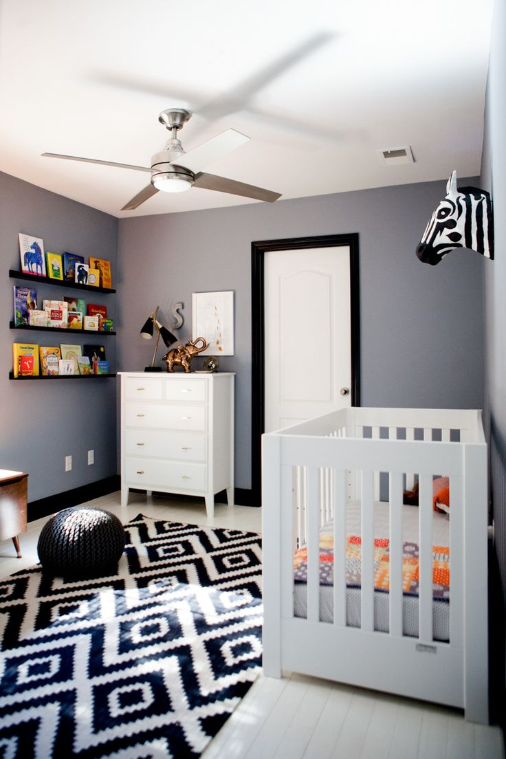 Black and white and grey bedrooms - Black White Gray Graphic Nursery Love The Black Trim And White Painted Floors For