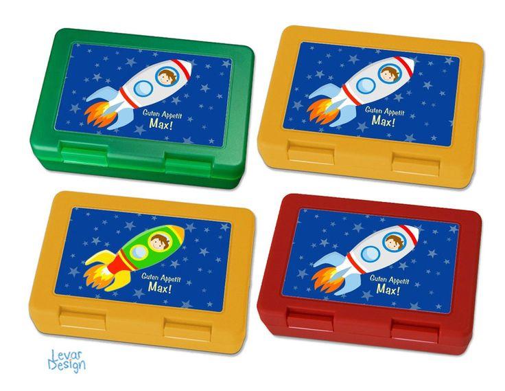 Brotdosen - Brotdose mit Namen für Kinder-Rakete - ein Designerstück von LEVARDESIGN bei DaWanda
