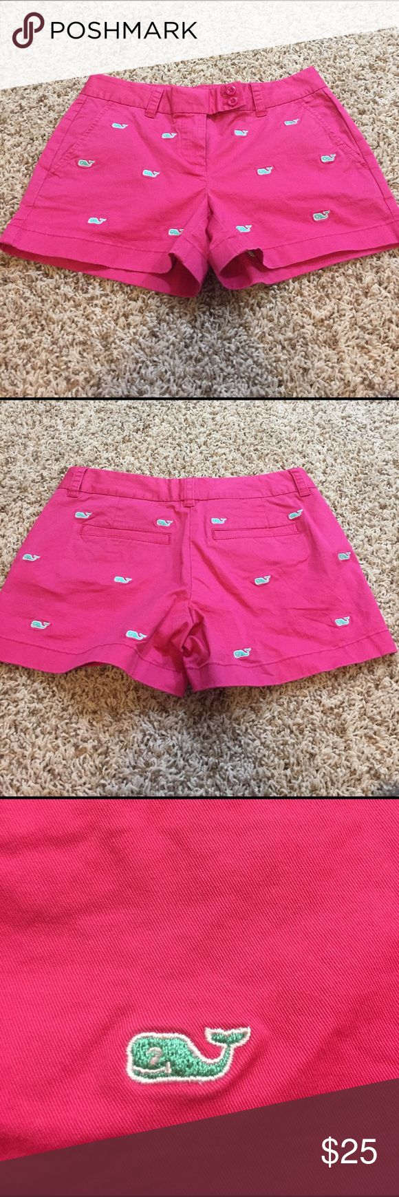 Vineyard Vines Shorts Pink Vinyard Vines shorts with little turquoise whales embroidered on them. Never worn! Vinyard Vines Shorts
