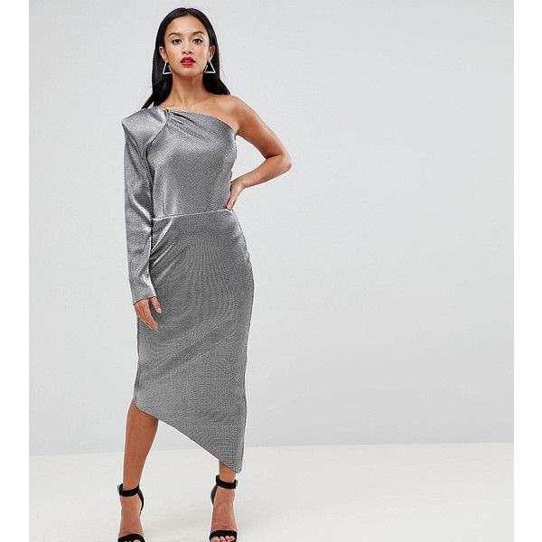 John Zack Petite One Shoulder Metallic Pencil Dress ($75) ❤ liked on Polyvore featuring dresses, petite, silver, petite dresses, petite cocktail dress, body con dress, bodycon dress and petite party dresses