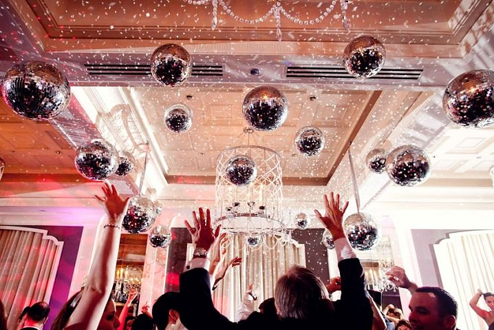 Love the use of multiple disco balls. With the right lighting you can really get a dramatic feel.