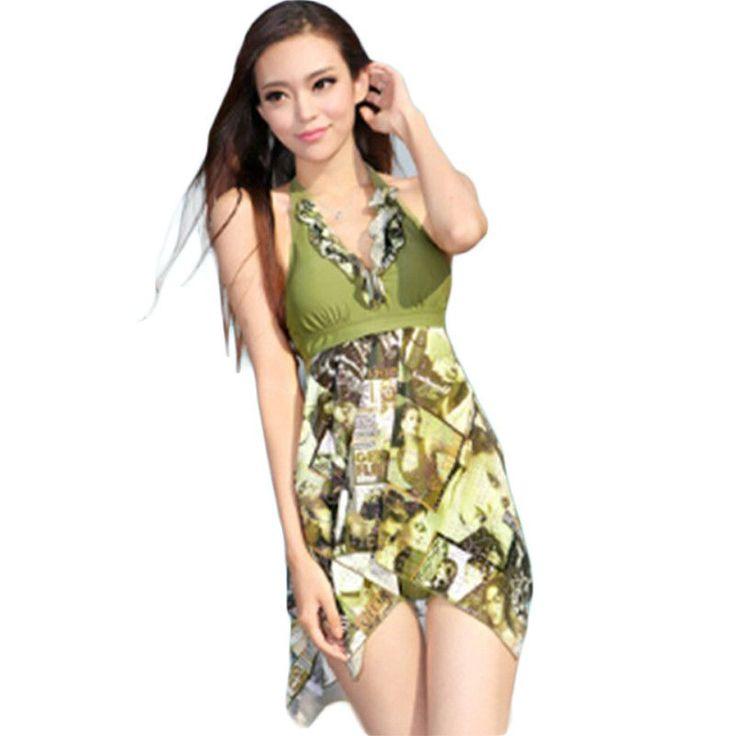 5XL Plus Size Women Swimsuits Cover Ups Swimwear Halter 2 Piece Set Beach wear Fashion Floral Swimwear Ropa De Bano Mujer