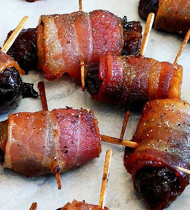 Baked dried plums in bacon.  #Czechia #food