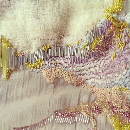 Textile art by Claire A. Baker Lovely lines, colours and texture - love it.