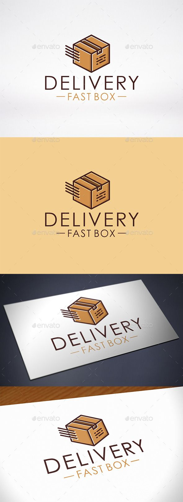 Fast Box Delivery Logo Template — Vector EPS #urgent service #trucker • Avai...