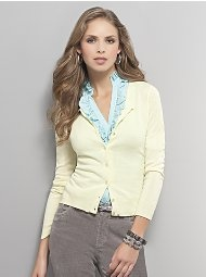 Button-down cardigan, everything minus those pants.