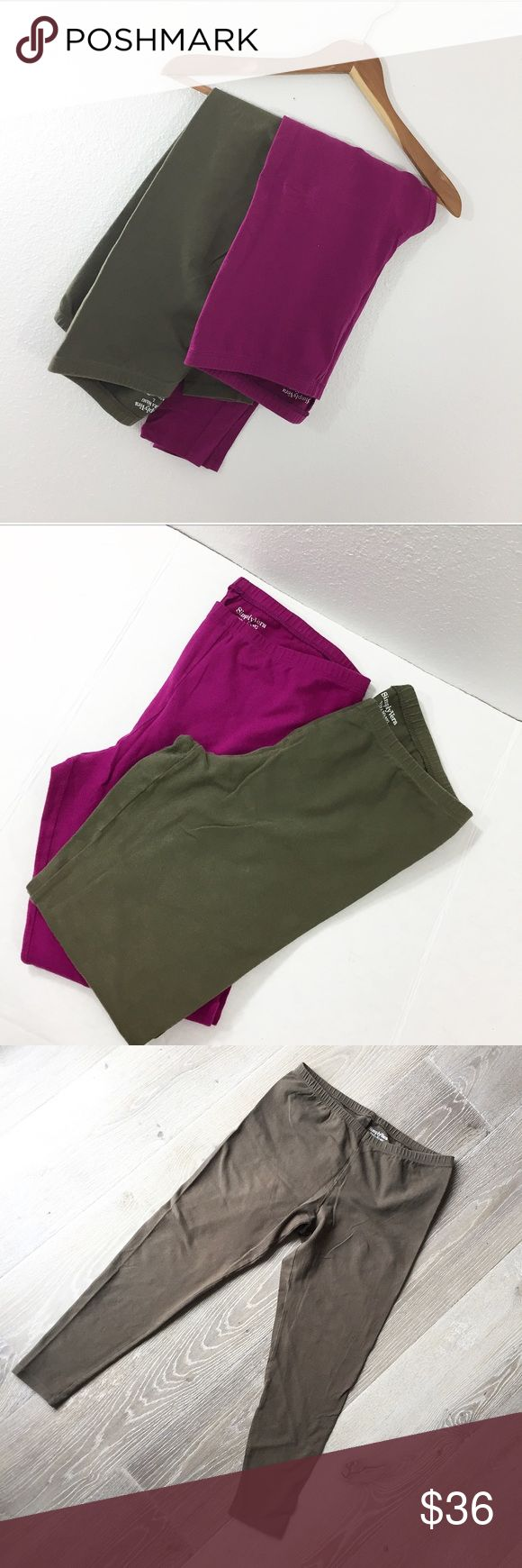 SIMPLY VERA WANG • legging bundle Bundle of 2 Simply Vera Vera Wang tights/ leggings High rise  Elastic waistline  Temperature-regulating fabric  Worn, has some pilling on crotch area (see photos) 1 Fuscia, 1 Army green Simply Vera Vera Wang Pants Leggings