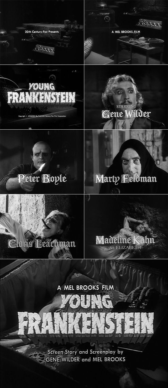 Young Frankenstein (1974) trailer typography – the Movie title stills collection #horror #movies #horrormovies