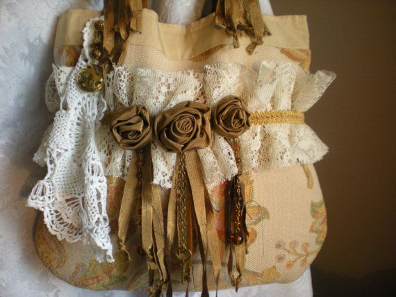 Shabby Chic Gypsy Bohemian Tote  Shabby Gypsy Purse by Pursuation, $45.00