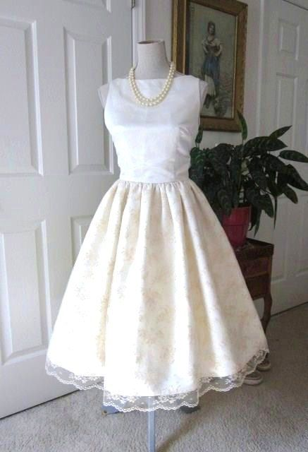 Check out this item in my Etsy shop https://www.etsy.com/listing/177419439/wedding-dress-1960s-inspired-satin-lace