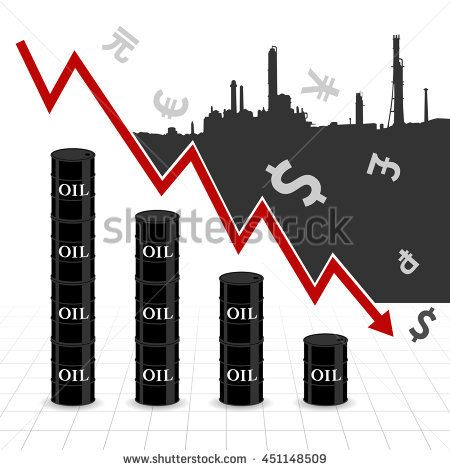 Crude oil price fall down abstract illustration with downtrend red arrow, oil barrel graph, currency symbol and refinery factory