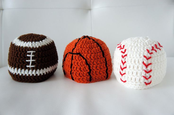 Sports Hats, Baseball, Basketball, Football, Crochet Sports Hats, Crochet Baby Hat, Baby Hat, photo prop. $39.99, via Etsy.