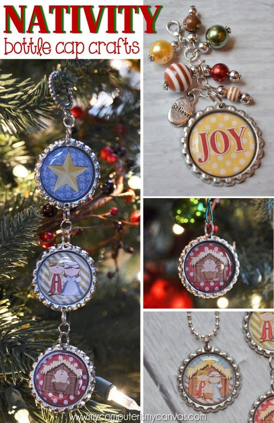 Nativity Bottle Cap Craft Ideas... love the necklace, perfect gift for the little girls on your list + the bottle cap ornaments and beaded key chain are awesome ideas too!  Great Christmas Gift or Nativity Lesson props... PRINTABLE #mycomputerismycanvas