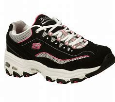 Image result for womens white tennis shoes with black and white label