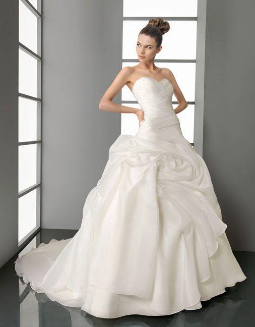 Ball gown sweetheart chapel train  glamorous organza with ruffle wedding dress