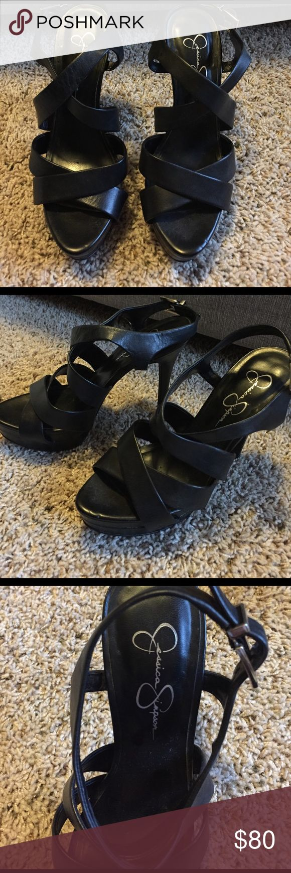 Jessica Simpson Black High Heels Black leather Jessica Simpson heels.  Heel height is about 3.5-4 inches.  Good condition/like new, worn only once. Jessica Simpson Shoes Heels