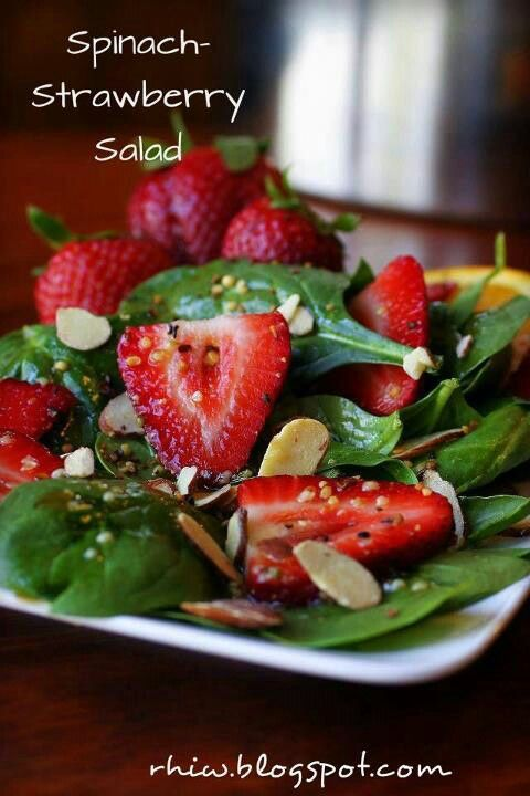 Spinach Strawberry Salad For a delicious fat burning meal add some chicken or shrimp! Very satisfying :) www.Mydietfreelife.com