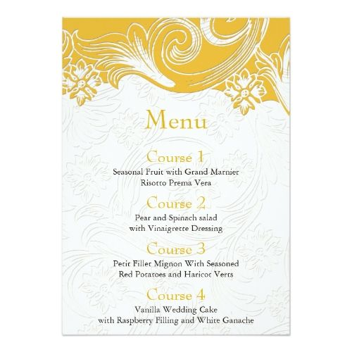 Yellow Wedding Menu FAUX paper cutout effect yellow wedding menu Card