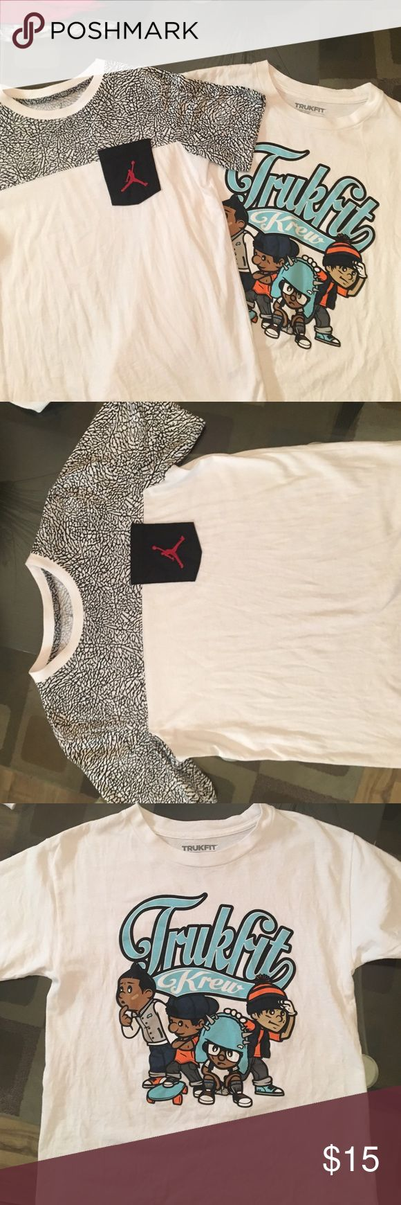 Jordan sold only trukfit available Trukfit and Jordan tees for kids. Buy together or seperate. Trukfit is a M and Jordan is a L but both are same size, just different sizing. Jordan Shirts & Tops Tees - Short Sleeve