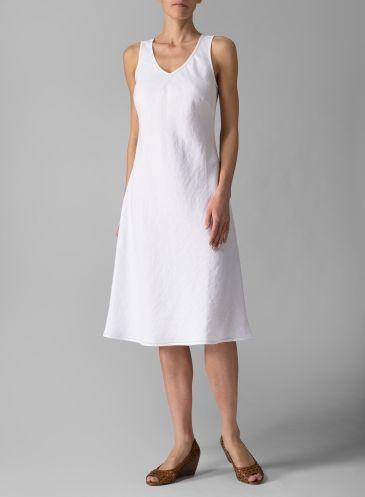 Linen Bias Cut Sleeveless Short Dress White Simple But