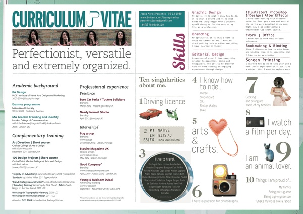 Curriculum Vitae by Joana Paranhos, via Behance