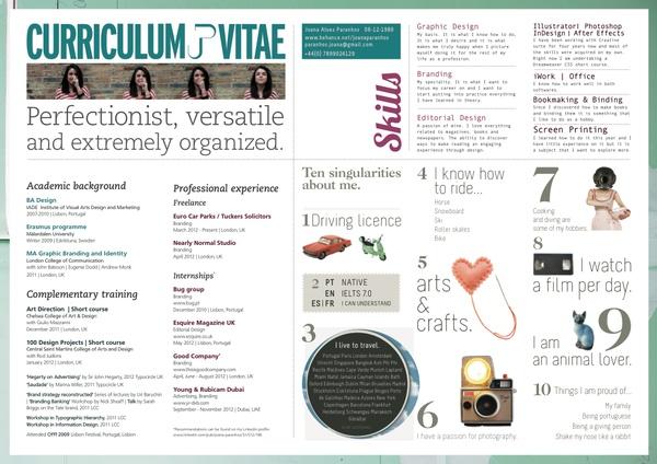 Curriculum Vitae by Joana Paranhos, via Behance