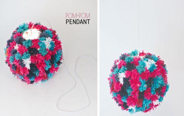 Des pompons en laine multicolore