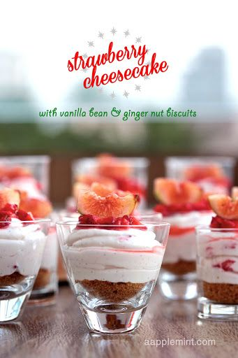 Strawberry Swirl Cheesecake with Ginger Nut Biscuit Recipe | Yummly