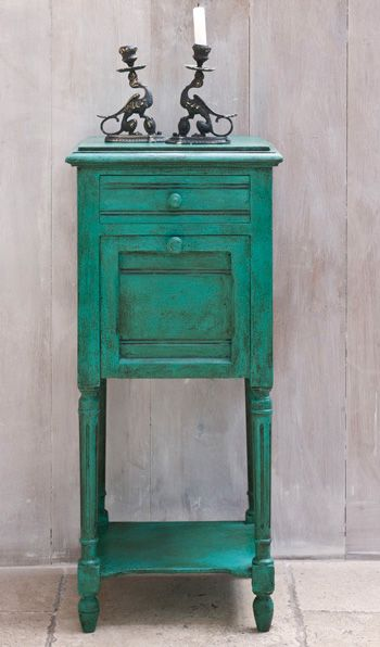 """Small side table. Color: Florence. """"This is inspired by the colors of the copper green mineral and semi-precious stone, malachite, and from the same family of stones as azurite and turquoise. from Robyn Story Designs"""