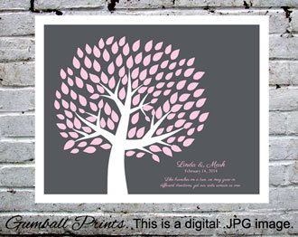 """Wedding Tree Guest Book. Personalized with your names and date. Pink and charcoal. Make an impact! This is a digital .JPEG file, 16x20"""". Gumball Prints. We design. You print. $25.00 CAD"""