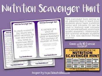 Nutrition Scavenger Hunt is fun way for health/physical education and science teachers to teach students about basic nutrition terms and concepts (it can be used to instruct new concepts or to review/refresh previously taught material). Additionally, this activity engages students in a fun and exciting fitness activity.----------------------------------------------------------------------------------------------Blog post about using the NutritionScavenger Hunt in my…