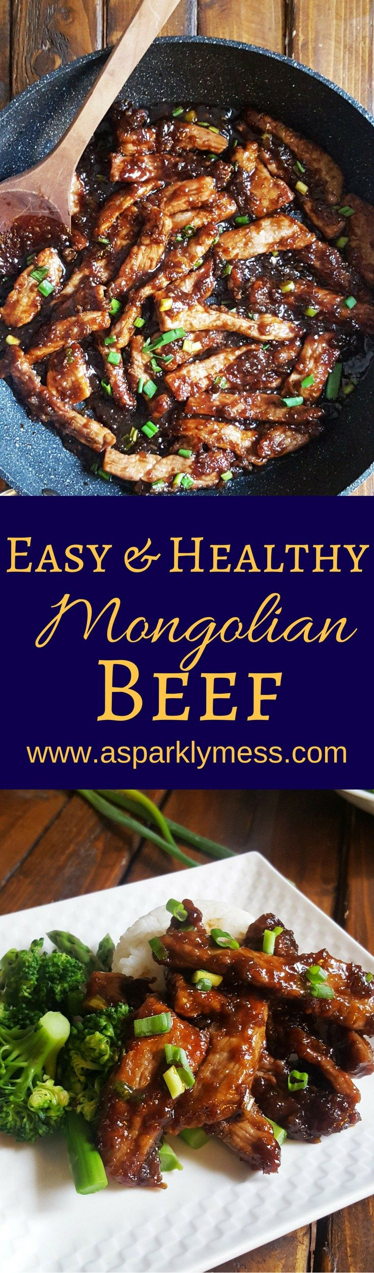 This deliciously Easy Mongolian Beef is made in under 30 minutes.  Tender, savory beef strips coasted in a sticky sweet Asian style sauce.