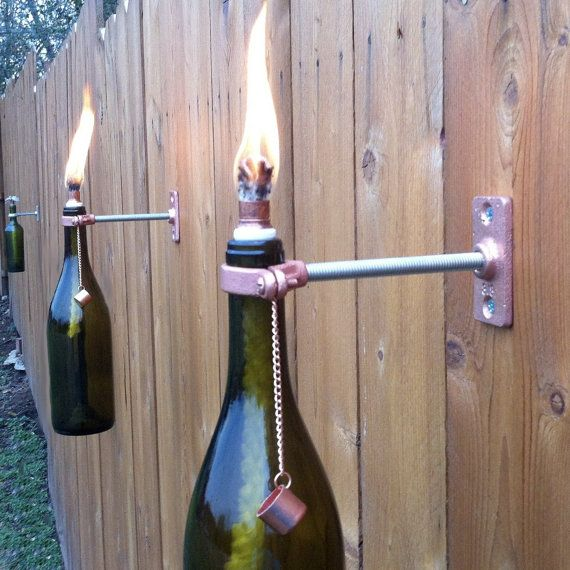 2 Amber (brown) Wine Bottle Tiki Torches - Modern Outdoor Lighting - fathers day gift, copper lighting, patio lighting