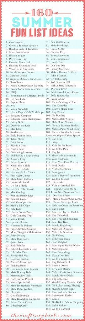160-Summer-Fun-List-Ideas:: SUMMER VACATION GAMES AND ACTIVITIES FOR KIDS