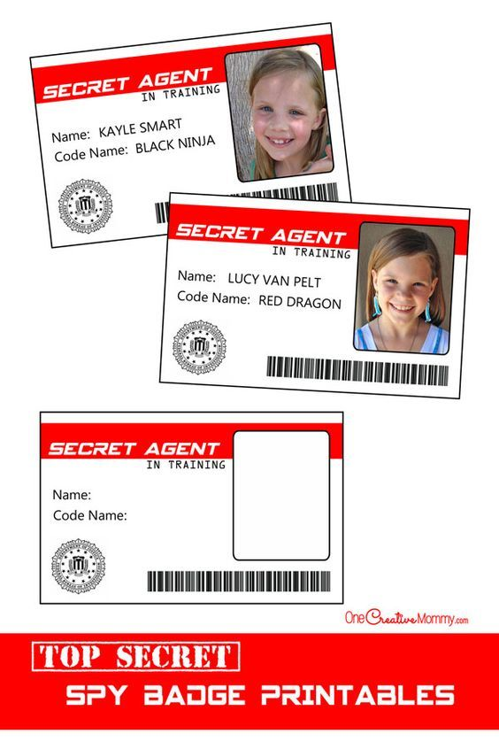 Official spy badges -- perfect for a Spy Birthday Party! {OneCreativeMommy.com}