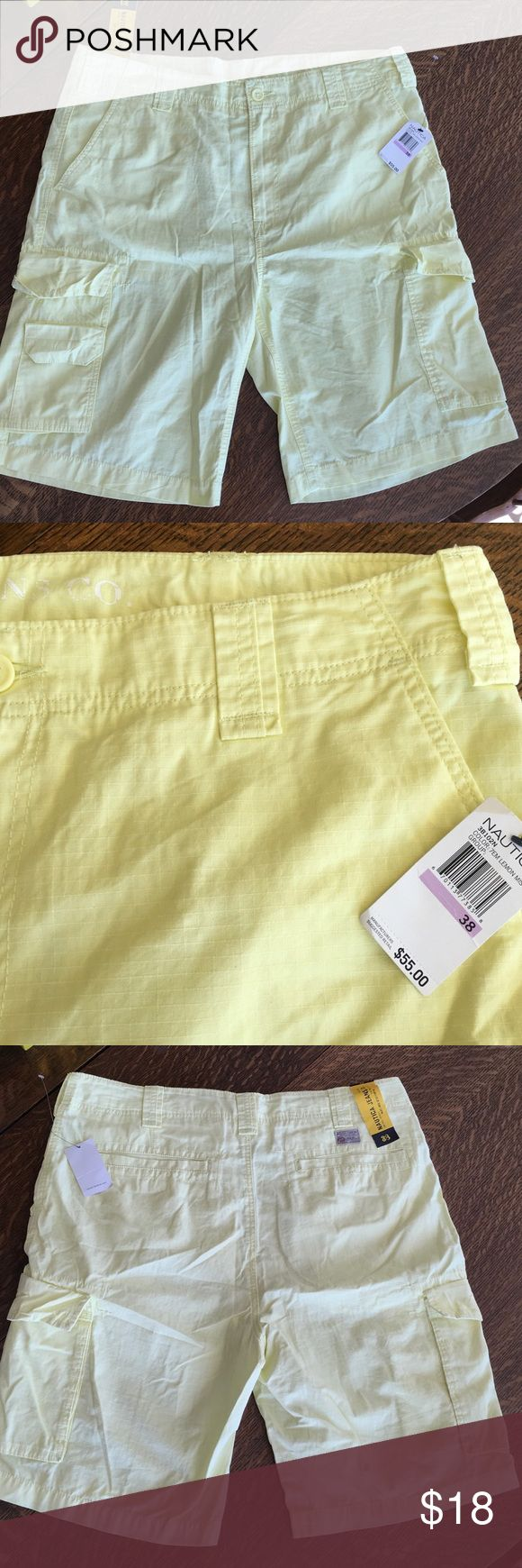 Men's Nautical Shorts NWT Brand new with tags.  The second picture shows accurate color. They are a pale yellow.   Non smoker home and I give bundle discounts! Shorts Cargo