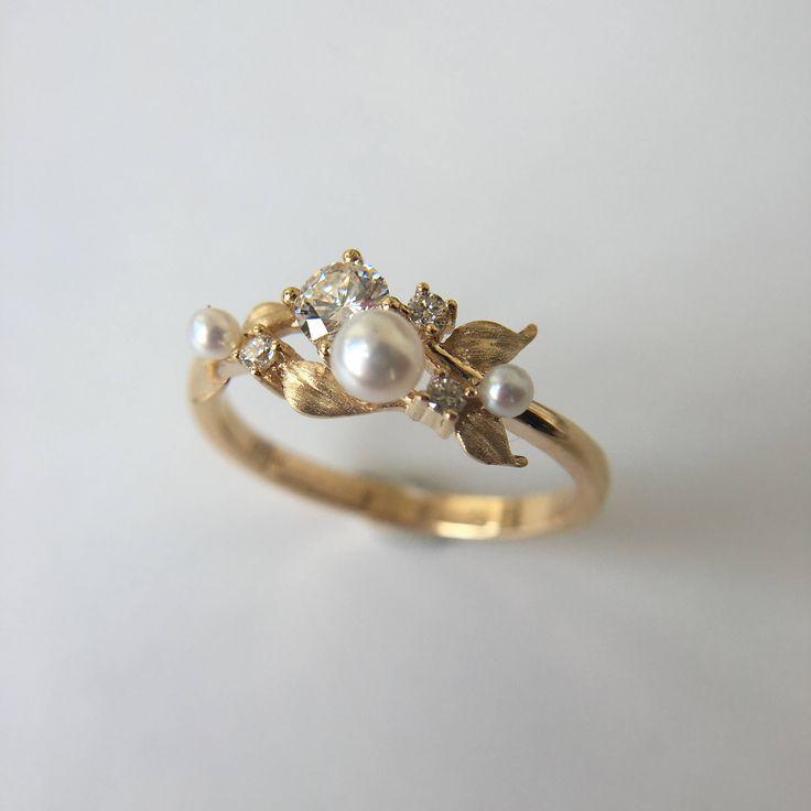0.3 Carat Moissanite Engagement Ring Retro Ring Pearl Ring Yellow Gold Ring Diamond Engagement Ring Moissanite Ring by Lustergems on Etsy https://www.etsy.com/listing/533744786/03-carat-moissanite-engagement-ring