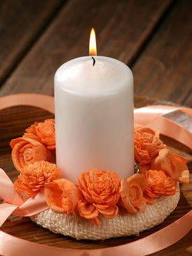 Wianuszek na świecę- brzoskwiniowy