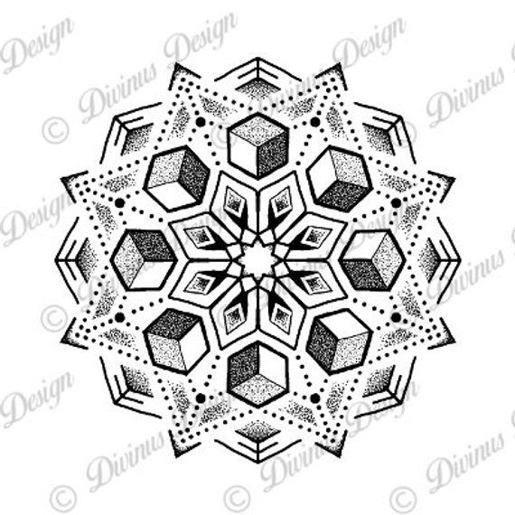 Cubic Geometric Dotwork Mandala Tattoo Design And Stencil Etsy Geometric Mandala Tattoo Mandala Tattoo Design Dot Work Mandala