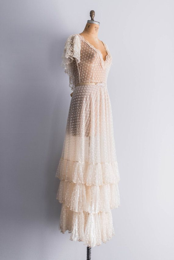 NEW LISTING 1970s Swiss Dotted Lace Tulle Wedding by ShopGossamer, $988.00