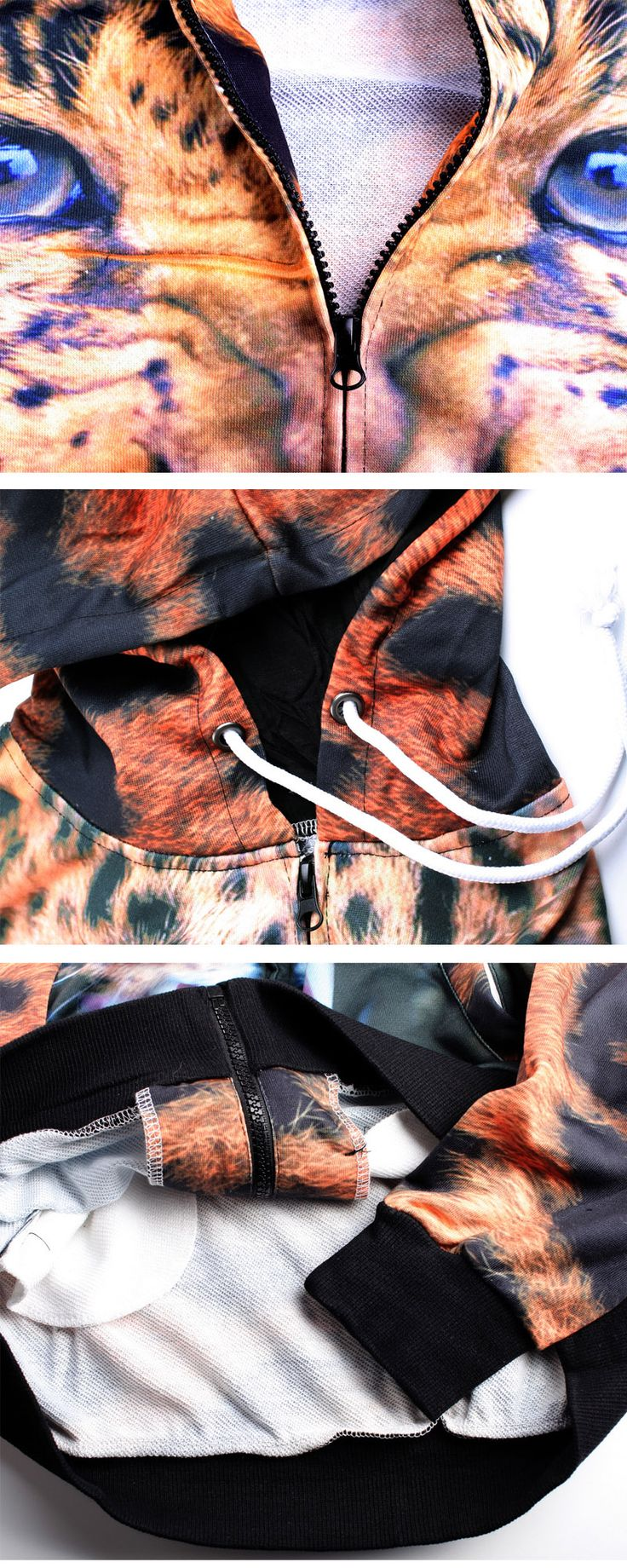 Fashionable 3D Leopard Printing Hooded Coat - Orange + Brown (L) - Free Shipping - DealExtreme