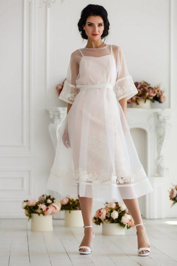 Transparent midi wedding dress – Powder rose boho wedding dress – Ivory sheer dr…